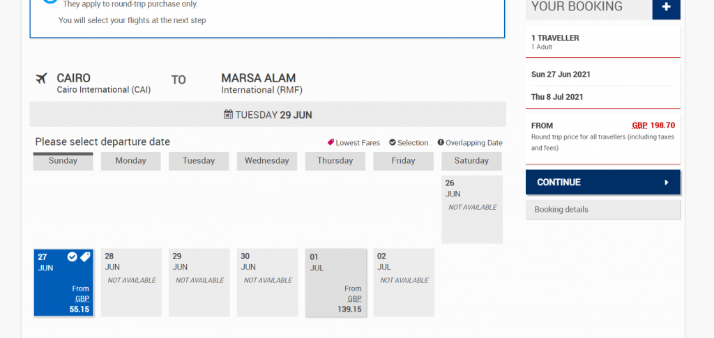 It was possible to find Egypt Air return flights for June 2021 from Cairo to Marsa Alam for less than £200